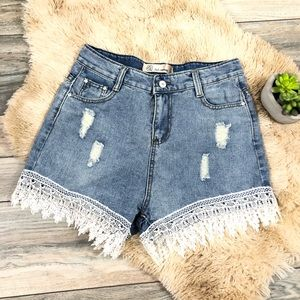 Pants - Boutique Jean shorts distressed with lace